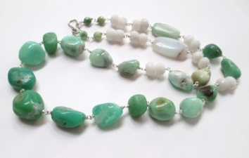 ALI HERRMANN Stone Necklaces and Bracelets chrysorprase nuggets, white jade rondelles, sterling wire