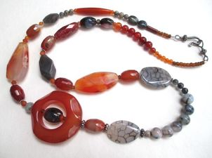 ALI HERRMANN Stone Necklaces and Bracelets sterling and natural stone necklace/pewter clasp