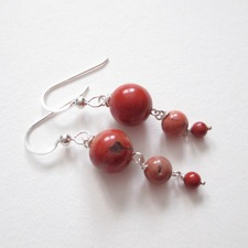 ALI HERRMANN Sterling and Semiprecious Stone Earrings 8mm, 6mm, 4mm cappuccino red jasper rounds, sterling