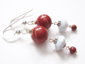 ALI HERRMANN Sterling and Semiprecious Stone Earrings red cappuccino jasper, natural chalcedony, sterling