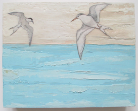 ALI HERRMANN Birds oil/encaustic