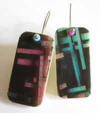 ALI HERRMANN Art Transfer Domino Upcycles domino transfer earrings/sterling