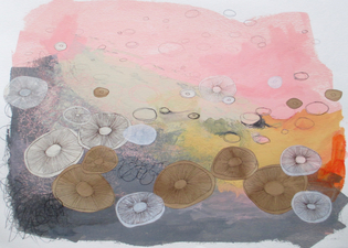 ALI HERRMANN Abstract Biomes acrylic, ink, graphite, and collage on paper