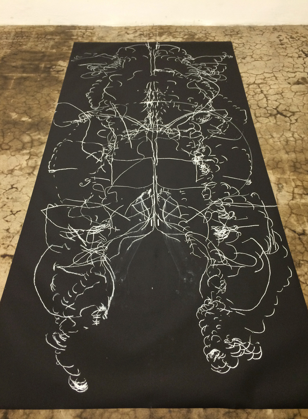 a l i s e   s p i n e l l a Performance 12-foot heart drawing (detail)