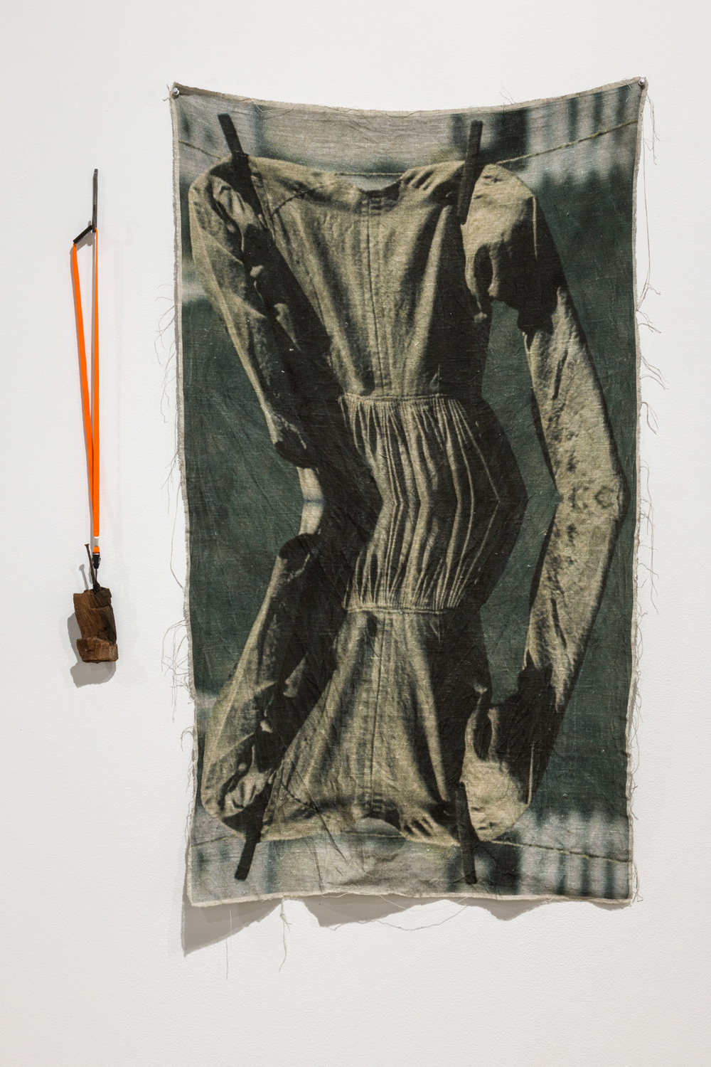 Allison SMITH Two of Wands driftwood phone with nail, polyester lanyard, wrought iron hook; archival pigment print on linen