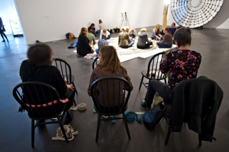 Allison SMITH Piece Work participatory braided rug, platform for reading, reflection, and conversation
