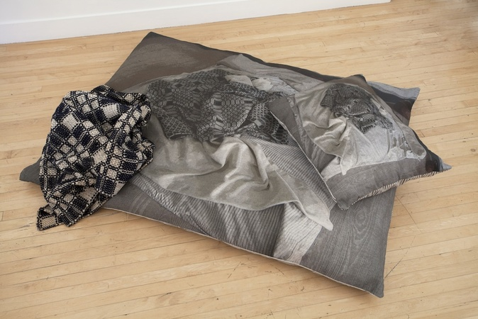 Allison SMITH Set Dressing Archival Pigment Prints on Linen, Ticking, Featherbed, Overshot Weaving