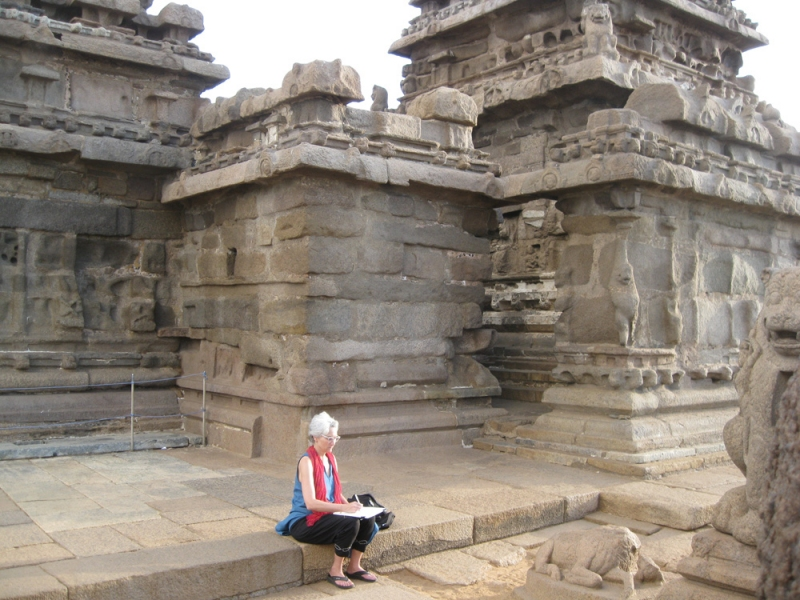 "Tapestries, Yoga, and India ""Amanda drawing at Mahabalipuram, near Madras"""