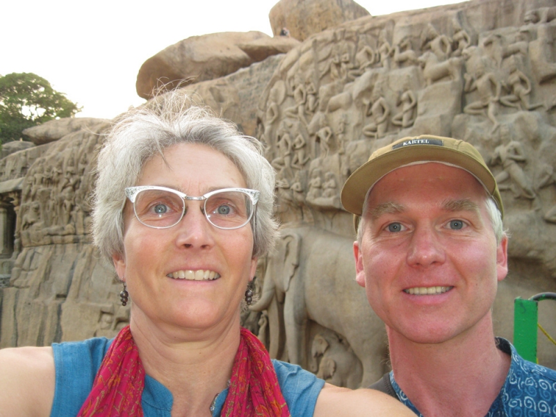 "Tapestries, Yoga, and India ""Carl & Amanda with Elephants, Mahabalipuram"""