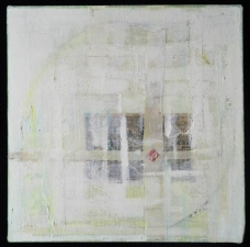 AMANDA  BARROW Paintings oil, ink, thread, cheesecloth & fabric on linen