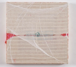 AMANDA  BARROW Paintings oil, ink, thread, cheesecloth & fabric on cotton