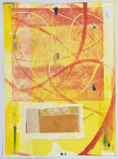 AMANDA  BARROW Prints on Paper monotype print on Indian paper w/ gold foil
