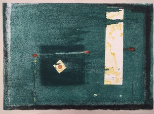AMANDA  BARROW New Work! monotype on handmade paper from India, with foil painted gold