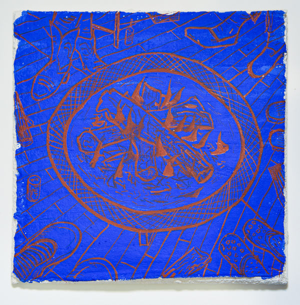 AMANDA LECHNER New Paintings synthetic ultramarine blue and iron oxide pigment, buon fresco on ceramic tile