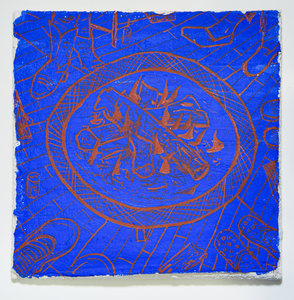 AMANDA LECHNER Fresco synthetic ultramarine blue and iron oxide pigment, buon fresco on ceramic tile