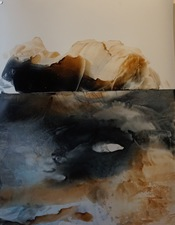 Amie Oliver Arcadia Lost Series ink wash and wax on polypropylene collage