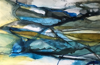 Amie Oliver Riding the wake of Rivers and Seas 2018-2019 Ink, acrylic and James River water on treeless paper