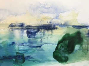 Amie Oliver Delta Time: Maps, Planes and Watermarks 2018-2019 , ink And James River water on polypropylene paper