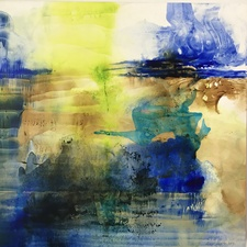 Amie Oliver Delta Time Ink, acrylic and Potomac River water on gallery wrapped polypropylene paper