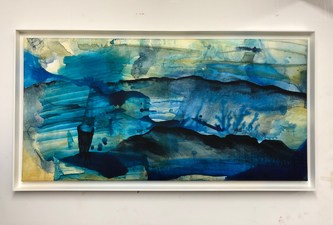 Amie Oliver Riding the wake of Rivers and Seas 2018-2019 Acrylic, ink and Potomac River water on cradled birch panel