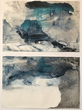 Amie Oliver Delta Time: Maps, Planes and Watermarks 2018-2019 Ink and James River Water on treeless paper