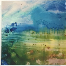 Amie Oliver Delta Time: Maps, Planes and Watermarks 2018-2019 Ink, James River Water, acrylic and wax on gallery wrapped polypropylene paper