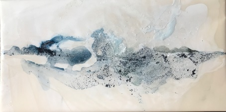 Amie Oliver Delta Time: Maps, Planes and Watermarks 2018-2019 Acrylic, Ink, James River Water and wax on gallery wrapped polypropylene paper