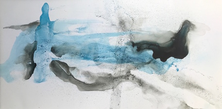 Amie Oliver Delta Time: Maps, Planes and Watermarks 2018-2019 Ink, James River Water and wax on gallery wrapped polypropylene paper
