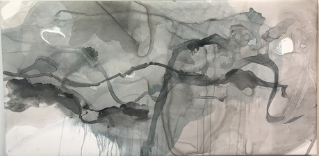 Amie Oliver Delta Time: Maps, Planes and Watermarks 2018-2019 Ink, James River Water and was on gallery wrapped polypropylene
