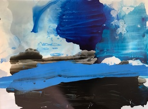 Amie Oliver Delta Time Acrylic, Ink, James River Water and wax on gallery wrapped polypropylene paper