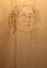 ABMacD Self-Portraits Colored pencil on wood