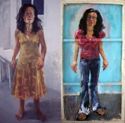 ABMacD Me-Me-Me-Me! (Self-Portraits) Oil, oil pastel, acrylic and glass beads on canvas