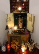Amy Finkbeiner Shrines and Relics Various talismans, candles, incense, flowers, mixed media
