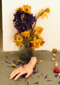 Amy Finkbeiner Shrines and Relics Sculpey, acrylic paint, nail polish, dried flowers, shells, and acorns