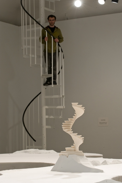 Anderson Gallery, VCU steel spiral staircase, grip tread, PVC handrail
