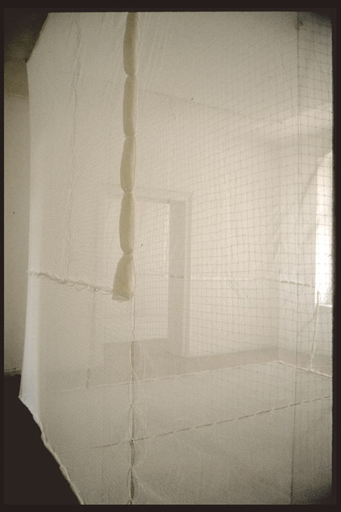 Galerie Wschodnia, Lodz Poland cotton netting, cotton bobinette, cording, wire, hardware and gallery space