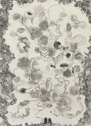 AMY KAO WORKS ON PAPER Etching with chine colle on paper