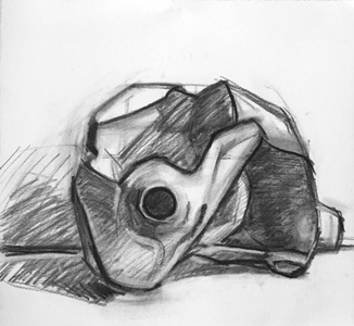Amy Mahnick Jug box theory charcoal on paper