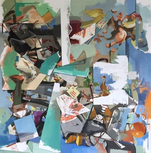 "Amy Mahnick 2020-21/Collaged Paintings oil on linen, oil on arches oil paper,  torn pages from Jonathan Safran Foer's ""Eating Animals,"" highlighter, marker"