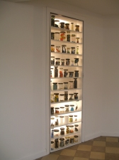a     n     d     r     e     w            z     a     r     o     u 2011 66 glass jars, found material, plywood shelving + glassine