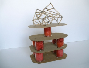 a     n     d     r     e     w            z     a     r     o     u 2012 glass candle jars, plastic bags, pressboard, wood, wire + liquid nails