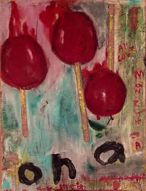 andrew zdziarski fruit series (2014-2016) enamel, oil pastel on wood panel