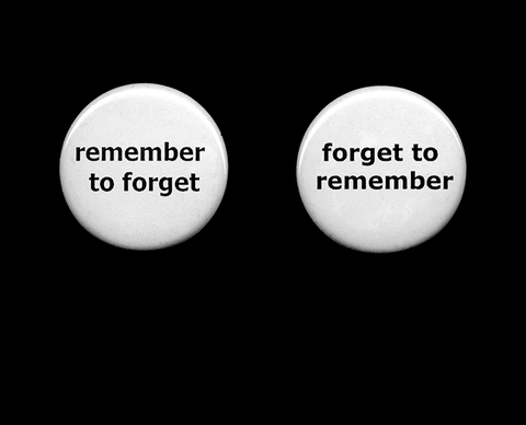 "Angela Beallor Remember to Forget // Forget to Remember 1000 1"" pinback buttons, 1 gallon glass jar"