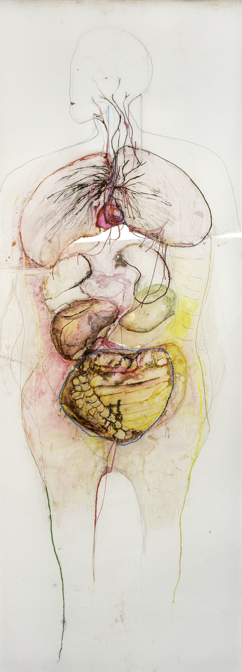 ANITA GLESTA THE HEART SERIES (Works on paper and 3-channel monitor installation) Ink and embroidery thread on vellum
