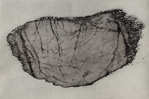 Anita S. Hunt   Sinkhole, Landslip, Puddle: monoprints etching, drypoint, layered gampi chine collé