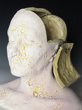 Busts Low-fire paper clay, glaze, mason stain