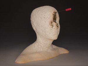 Busts Mid-range paper clay, underglaze, glaze, crushed glass, nichrome wire