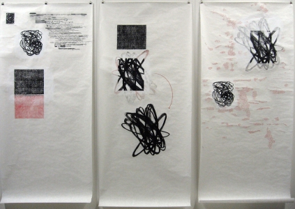 Anne Gilman Scrolls with printed elements ink, pencil, paint with relief prints on 3 scrolls