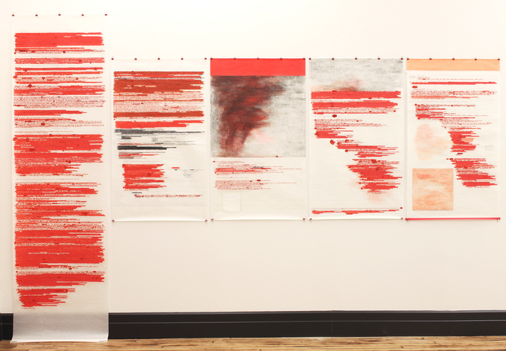 Anne Gilman Scrolls on and off the wall ink, pencil, tape on mulberry paper