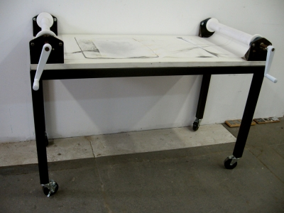 Anne Gilman Scroll Table medical paper, dry pigment, pencil, tape, collage, wood, steel, aluminum